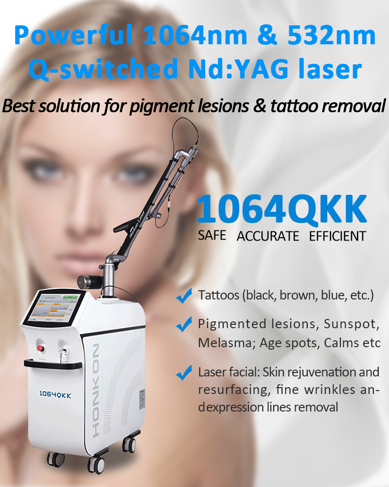 Best Solution Q-Switched Nd:YAG Laser For Pigment Lesions & Tattoo Removal Skin Rejuvenation Beauty Machine