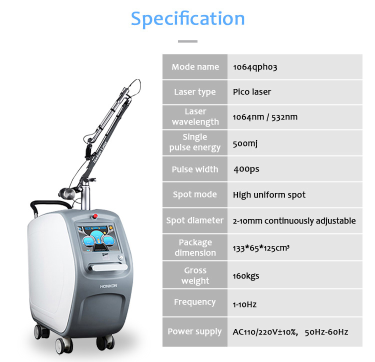 1064QPH03 Picolaser Picosecond Laser Tattoo Removal Pigmentation Removal Equipment