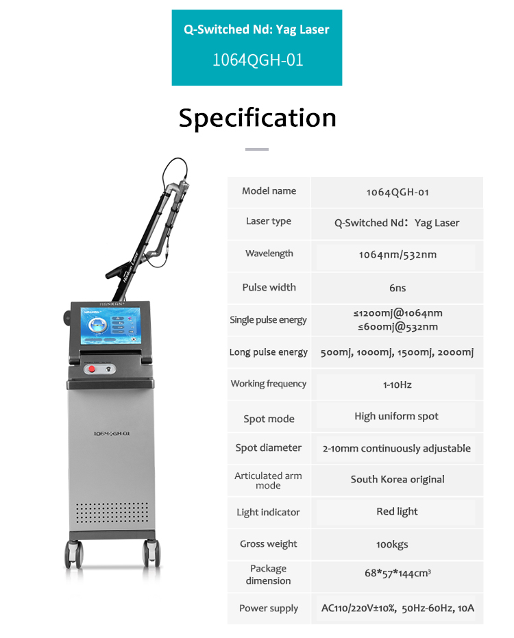 High Quality Q-Switched Nd:YAG Laser Pigment Lesions & Tattoo Removal Skin Rejuvenation Equipment