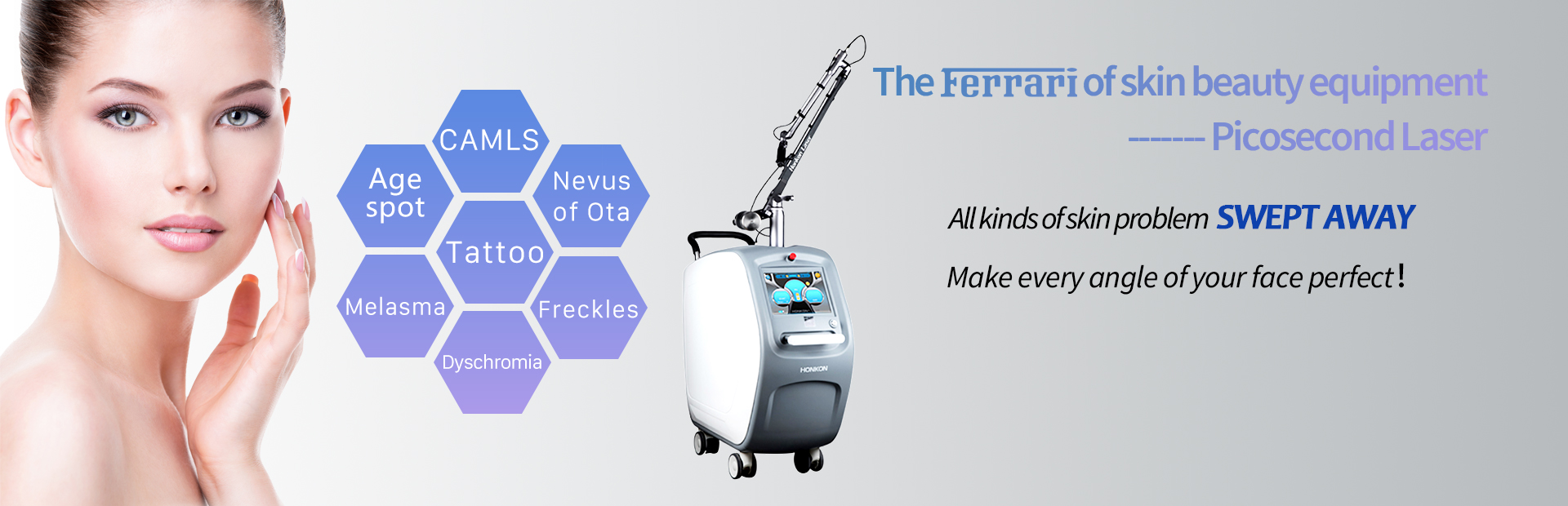 1064QPH03 High quality 1064nm & 532nm picolaser/picosecond laser tattoo removal pigmentation luxurious equipment