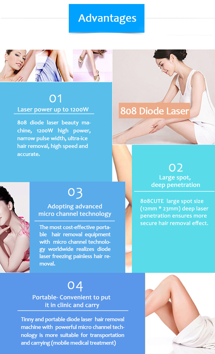 808CUTE 808nm Diode Laser Permanent Hair Removal Machine