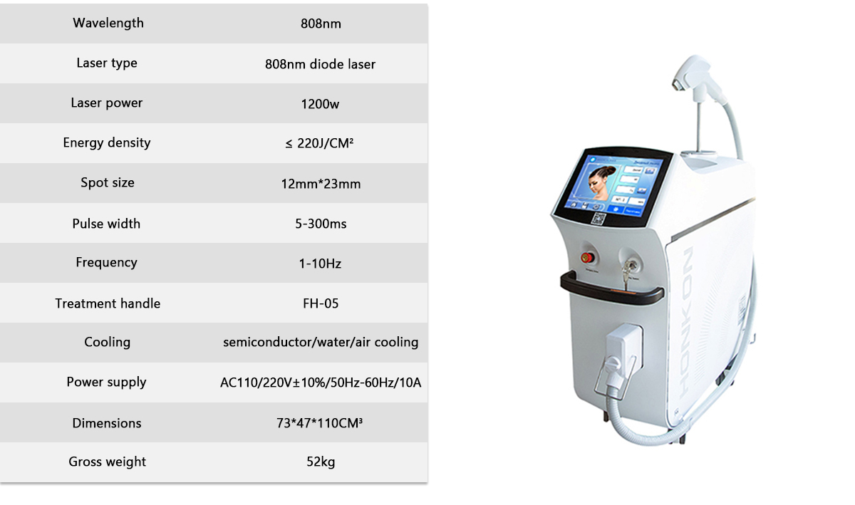 808KK 1200W High Quality Hair Removal Machine Specification