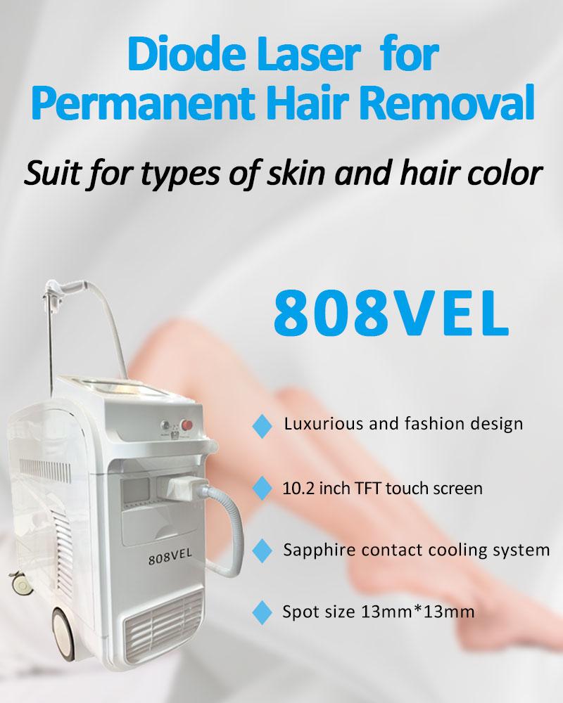 808VEL 808nm Diode Laser Permanent Hair Removal Skin Rejuvenation Machine