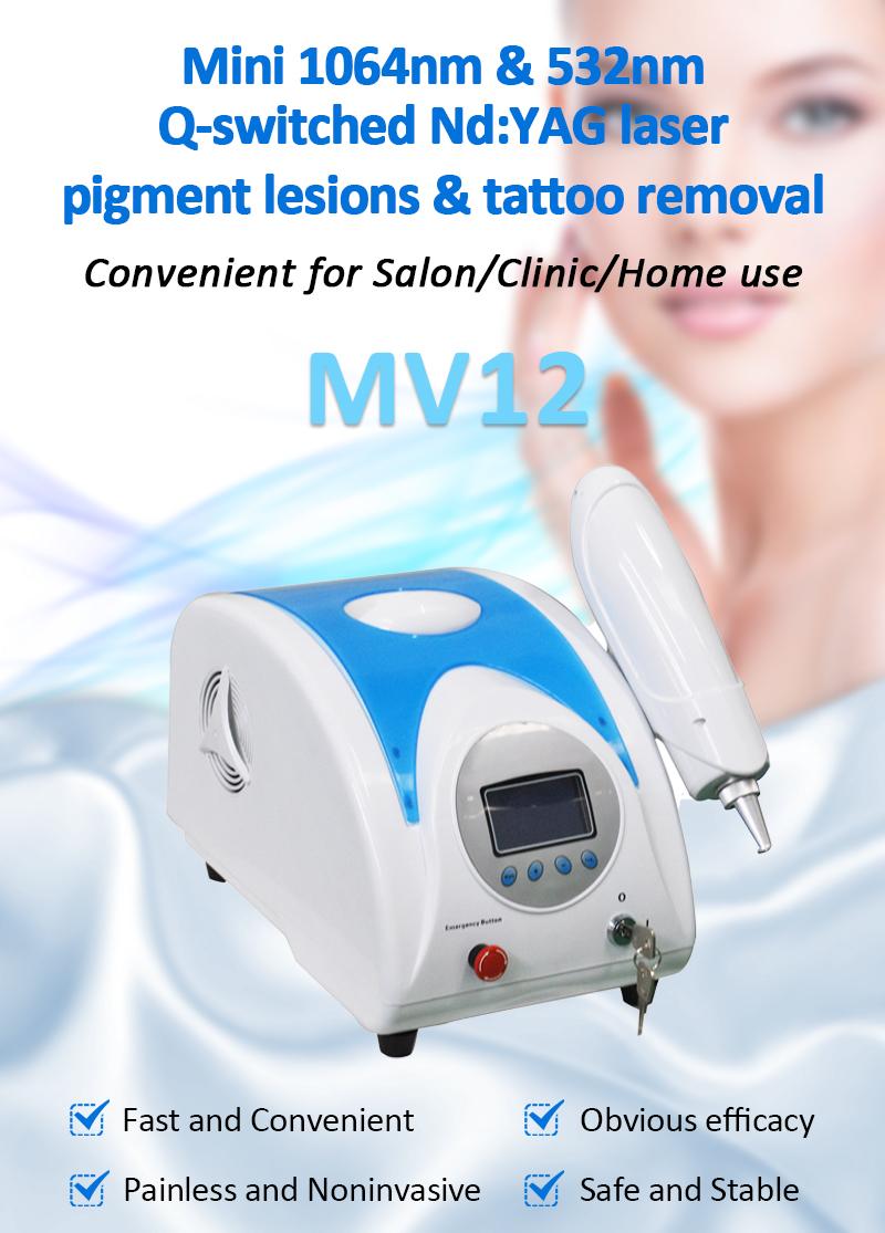 MV12 Mini Q-Switched Nd:YAG LaserPigment Lesions & Tattoo Removal Skin Rejuvenation Beauty Salon Machine