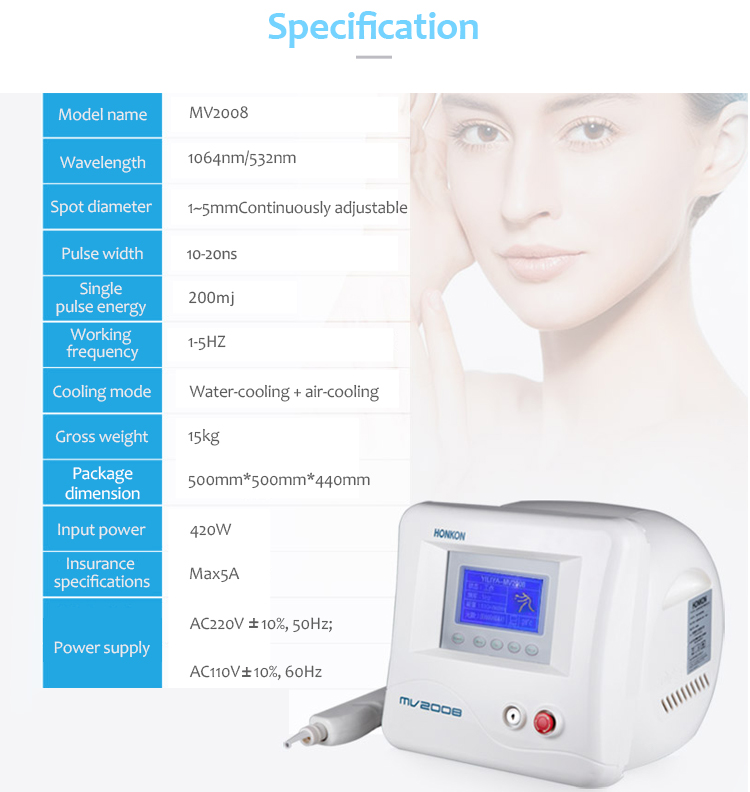 1064nm Q-Switched ND:YAG Laser, Laser Tattoo Removal Machine, Pigment Lesions Removal Machine, MV2008