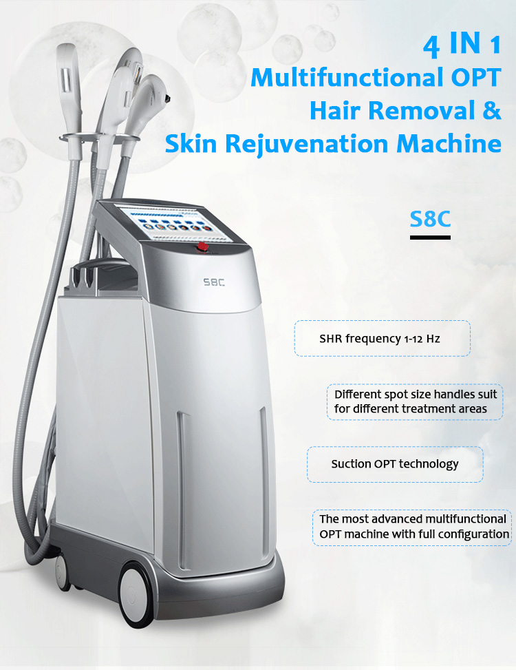 S8C Permanent Hair Removal Skin Rejuvenation Pigmentation & Vascular Lesion IPL/OPT/SHR Beauty Machine