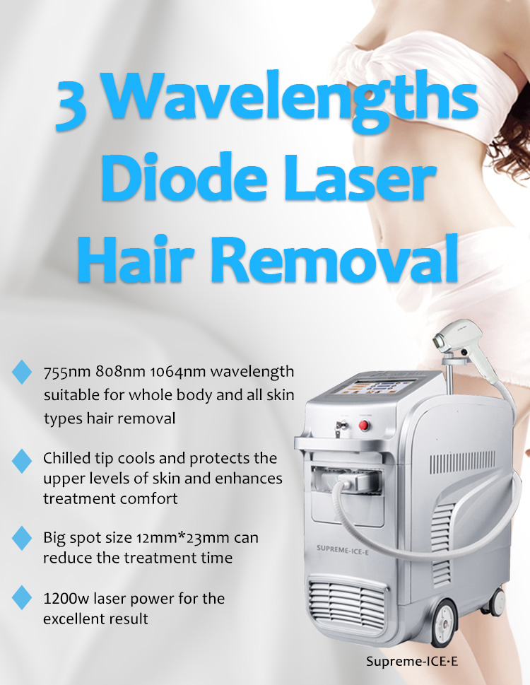 1064nm Q-Switched ND:YAG Laser, 808nm Diode Laser, Diode Laser Hair Removal Machine, Supreme ICE-E