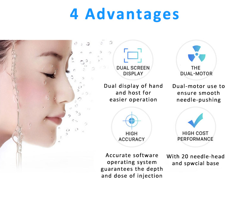Anti-Wrinkle Facial Moisturizing Hydra Facial Skin Tightening Wrinkle Removal Skin Whitening 9 Pins Needles Mesogun Injector