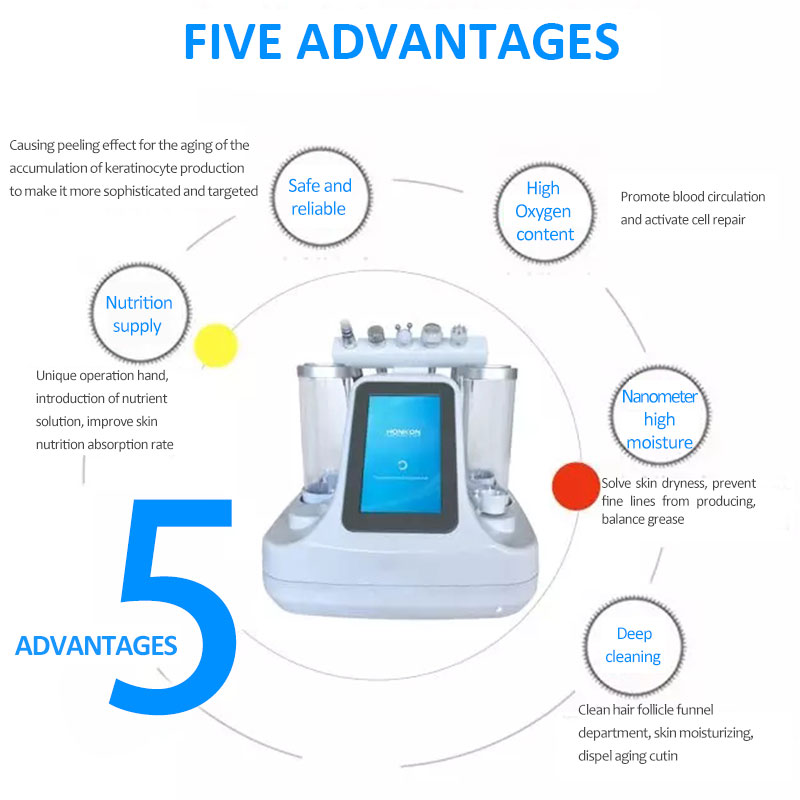 5 in 1 Multifunction Skin Peeling MicroBubble Machine for Skin Whitening and Deep Cleaning Hydra Facial Skin Care